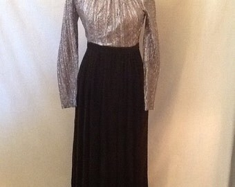 Vintage House of Bianchi Silver Lame and Velvet Long Dress