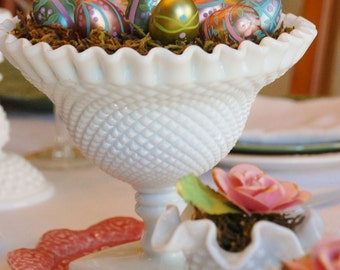 FREE SHIPPING!! - Pair of Vintage English Hobnail Milk Glass Compotes - Two White Westmoreland Glass Pedestal Bowls - Vintage Wedding Decor