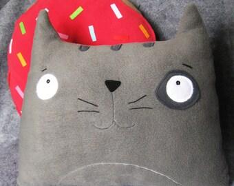 Cat Pillow - Plush Cat - Cute Citty Pillow -Home Decor- Free Shipping