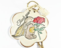 Rustic thank you gift, Cute bunny print clay plaque, Appreciation gift , Thank you sign, Thank you card alternative, Flower girl thank you