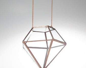 XSmall Hanging Geometric Terrarium  // Clear Glass Diamond with Copper Finish // Planter for indoors