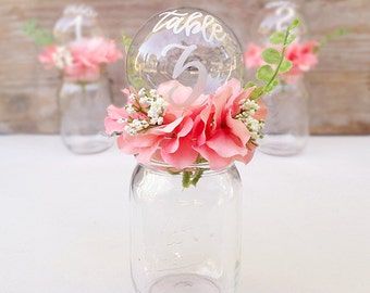 Floral Wedding Table Number Centerpiece, Mason Jar Table Number, Calligraphy Centerpiece, Wedding Centerpiece Table Number Centerpiece