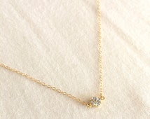 Dainty Crystal Necklace, Minimalist Necklace, Layering Necklace, Delicate Necklace, Gold Filled Necklace, Bridesmaid Necklace, Sexy Necklace
