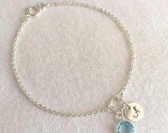Sterling Silver Disc Birthstone Bracelet,Personalized Disc Bracelet,Initial Disc Bracelet,Monogram Bracelet,Child Bracelet,Dainty Bracelet