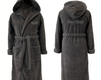 Personalised Hooded Charcoal Grey Towelling Dressing Gown