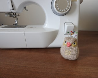 Owl Pin Cushion Critter, paper weight, Desk Toy, #OOAK, Hand knitted