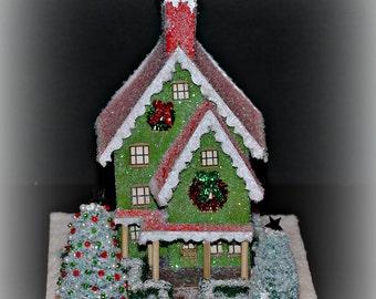 Glitter House, Handmade Glittered House, Christmas Village House, Putz Style House, Christmas Village Paper House, Christmas Decoration