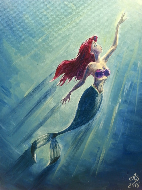 The Little Mermaid Ariel. Original oil painting