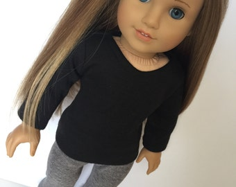 Black Long Sleeve Shirt. 18 inch doll clothes. Fits American Girl doll