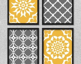Printable Art Set, Goldenrod Yellow and Gray Art, Printable Art, Bedroom Art, INSTANT DOWNLOAD, Printable Wall Art, Home Decor, Wall Decor