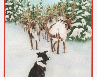 Christmas Border Collie Card.  Watercolor Pet Christmas Card.  StellaJaneCards