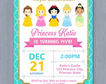 disney princess invitation disney princess birthday invitation princess invitation princess party invitation - Disney Princess Party Invitations
