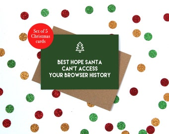 Set of funny Christmas cards. Five funny christmas cards