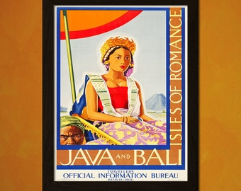 Print Bali Travel Poster 1930s - Vintage Travel Bali Poster Tourism Wall Decor Poster Gift Idea Java Postert