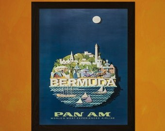 Bermuda Travel Poster - Vintage Travel Poster Bermuda Poster Tourism Wall Decor Poster Pan Am Poster Reproductiont