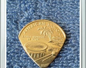 American Samoa Quarter Guitar Pick Handcrafted