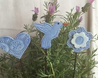 Garden Stakes a Hummingbird, Heart and Flower Garden Stake Set for your garden or potted plant gift