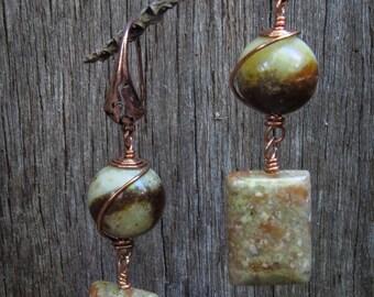 Green Onyx and Copper Dangle Earrings