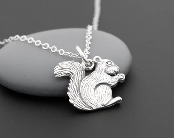 Squirrel Necklace, Squirrel Jewelry, Squirrel Charm, Nature Lover Gift, Sterling Silver, Woodland Necklace, Forest Animals, Woodland Jewelry