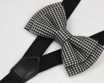 Suspender Bowtie set dark gray Baby bow tie black Suspender grey Boys Bowties Toddler bowties suspenders,Mens bowtie Wedding groomsman/13