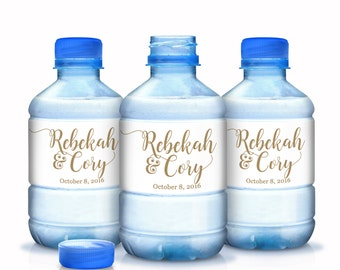 Wedding Water Bottle Labels, Personalized Water Bottle Labels, Gold Wedding Labels, Wedding Welcome Bags, Calligraphy Label, Wedding Favor
