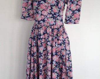 Vintage Laura Ashley Floral Dress - UK Size 12/US Size 8