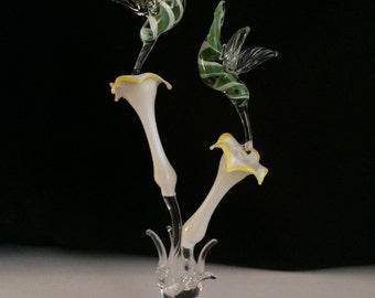 Handblown Glass Hummingbirds Sculpture