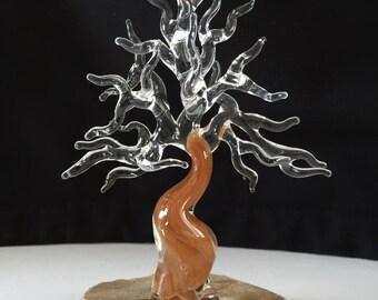 Handblown Glass Bonsai Tree with Brown Trunk Sculpture