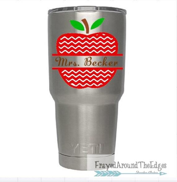 Teacher Apple Yeti Cup Monogram Decal