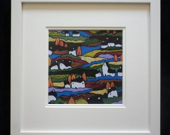 """Giclee Print of Original Acrylic Landscape Painting,Wooden  Frame, 12""""x12"""", Under Glass, Giclee Landscape Print on Quality Paper, Giclee"""