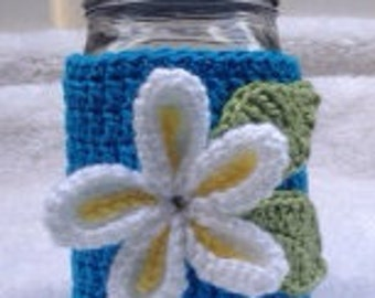 Mason Jar (Wide Mouth) Cozy with Plumeria Flower