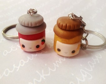 BFF peanut butter & jelly keychain, Best friend necklace, Best firned keychain, Friendship keychain, Food necklace, kawaii keychain