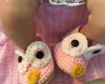 Owl Baby Booties