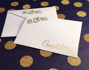 Mr and Mrs/Wedding Congratulations Card - Gold and White - Matching Mr and Mrs Envelope