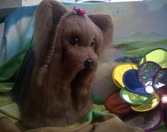 Needle felted custom dog sculpture of youre dog /Needle Felted Yorkie /Dog Portrait /Custom dog art / Custom portrait of a dog