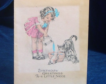 1930's Kittens Cat Birthday Greeting Card for Niece