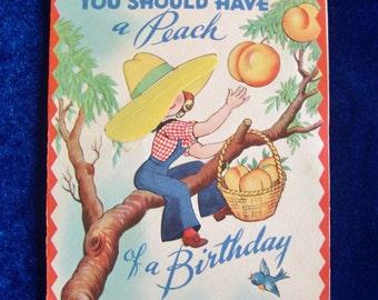 1940's Peach Preserves Birthday Card Very Cute!
