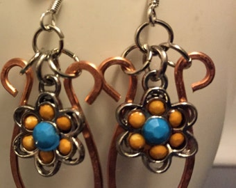 Hammered Copper Earrings with a Blue and Yellow Flower Charm