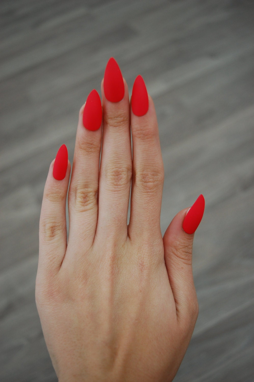 Orange Nails With Chevron And Glitter Nail: Bright Red-Orange Coral Full Cover Stiletto Nails Set Of 20