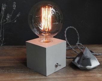 Concrete Lamp. Concrete table lamp. Concrete desk lamp. Industrial style. Concrete light. Vintage bulb. Table lamp. Industrial light. Light