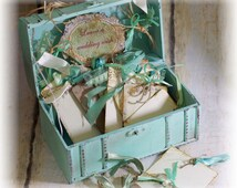 Shabby wedding guest book alternative, Cottage Mint wedding guestbook, Vintage mint green wedding trunk box, 80 wish cards and tags, lace