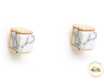 White Marble Earring,  Minimalist Earrings, Gold Square Marble Earring, White Howlite Earring, Geometric Earring, Gold stud Earring