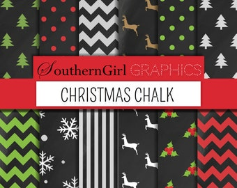 """Chalkboard Christmas Digital Paper - """"CHRISTMAS CHALK"""" with Christmas trees, reindeer, snowflakes, and holly in red, green for cards"""
