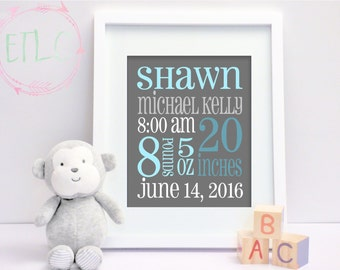 Birth Announcement, New Baby Boy, Baby Birth Stats, Newborn Birth Announcement, Nursery Wall Art, {Custom DIGITAL FILE}