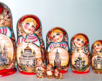 """Nesting doll """"Moscow sepia"""" 10 pcs"""