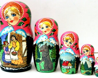 """Nesting doll 5 pcs """"Little Red Riding Hood"""" fairytale 6.7 Inches"""