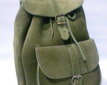 New Suede Backpack! Real Leather Backpack! Handmade Bag! Satchel! Suede Olive Green Backpack!Green Suede Handbag