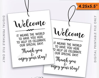 Wedding Tags, Welcome Bag Tags, Hotel Gift, Out of Town Guests, Destination Wedding, 4 Printable Thank You Tags Per Sheet, Instant Download