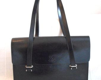 Black Leather Handbag by Strenesse Group