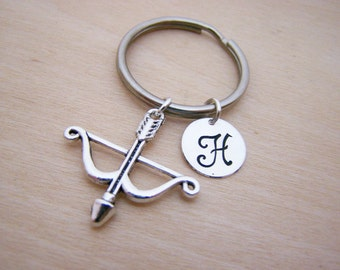 Bow and Arrow Key Chain Charm - Personalized Key chain - Initial Key Chain - Custom Key Chain - Personalized Gift - Gift for Him / Her